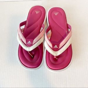 Adidas fit foam pink size 8 thong sandals